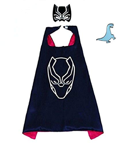 Superhero Cape and Mask Costume for Kids with Pin (Black Panther)