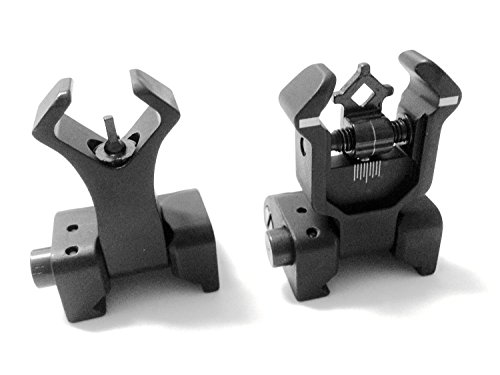 AAO Ar Tactical Flip up Front and Rear Iron Sights Set for Picatinny Rails by AAO