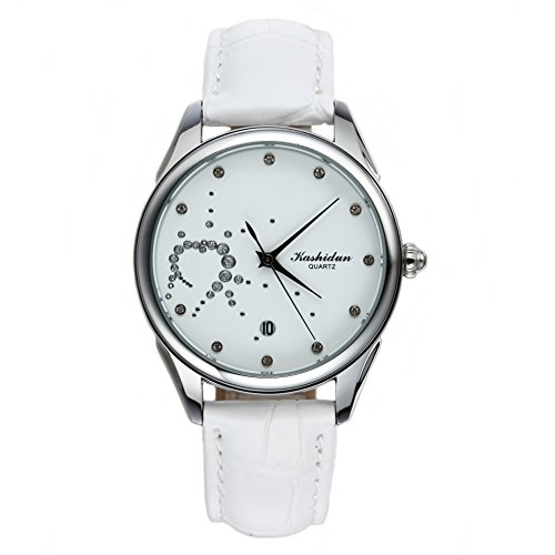 KASHIDUN Women's Watches Waterproof Quartz Wristwatch Waterproof Stainless Steel Case White Diamonds Dial WhiteLeather Band