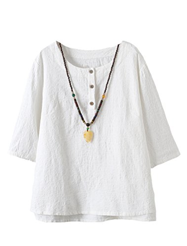 Minibee Women#039s 3/4 Sleeve Cotton Linen Jacquard Blouses Top TShirt