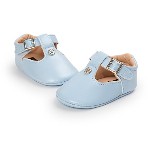 Meckior Fashion Infant Baby Boys Girls Soft Sole Sequin Dress Shoes Moccasin Prewalker Party Shoes (6-12 Months, A-Light Blue) - Light Blue Baby Shoe