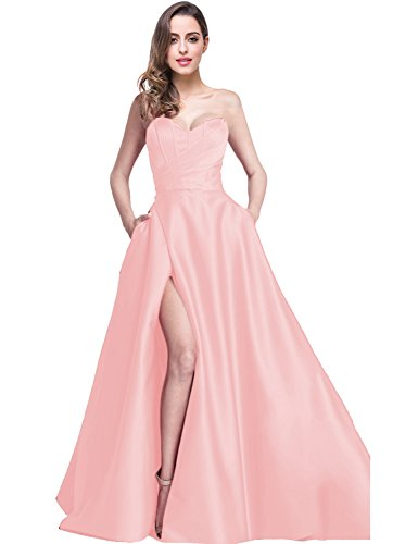 YIRENWANSHA 2018 Prom Dress Plus Size Womens Sweetheart Neck Satin Evening  Dresses for Girls Split Side Party Gowns with Pockets Ruffled Fashion Female  ... 66d75b833