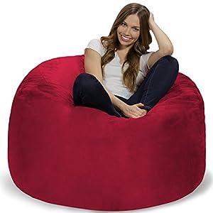 Chill Sack Bean Bag Chair: Giant 4' Memory Foam Furniture Bean Bag - Big Sofa with Soft Micro Fiber Cover - Cinnabar