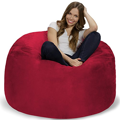 Chill Sack Bean Bag Chair: Giant 4' Memory Foam Furniture Bean Bag - Big Sofa with Soft Micro Fiber Cover - Cinnabar - High Back Microsuede Chair
