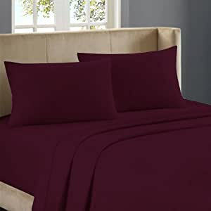 Nile Bedding Egyptian cotton Fitted Sheet 20 Inches Deep Pocket 450 TC Solid ( Full , Wine )