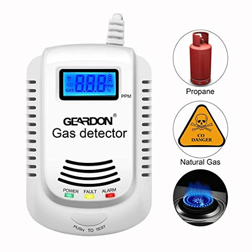 - Natural Gas Detector, GEARDON Home Kitchen Methane, Propane, Compound Alarm; Charging or 9V Rechargeable Battery (Not Included) Voice Promp, LED Display Leak Tester, Sensor for Combustible Gas Level