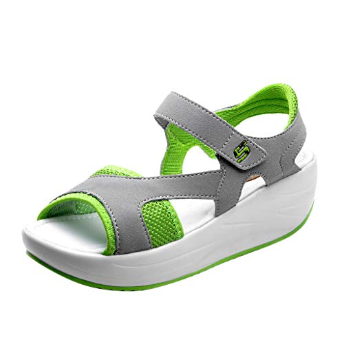 OrchidAmor Women's Fashion Casual Peep Toe Breathable Thick Bottom Sandals Sport Shoes 2019 Summer Comfy Shoes Green