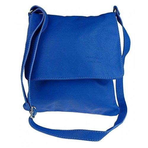 Italian Bag Company Womens Vera Pelle Medium Cross Body Bag Genuine Italian soft leather (Medium Brown) Royal Blue