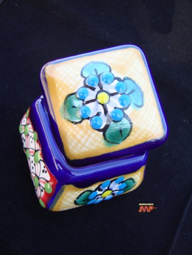 Fine Talavera Jewelry Box Ceramic Folk Art Mexico Pottery Hand Painted Artwork Signed(yellow & green top) (Signed Ceramic)