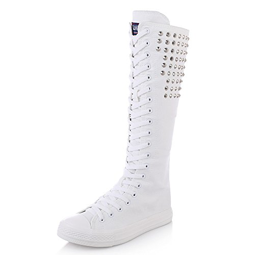 Women's Knee High Lace-Up Canvas Zip Dance Cheerleading Shoes Boots (10 B(M) US, Rivets-White-Silver) (Canvas High Shoes)