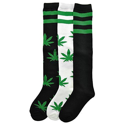 Angelina 3 Pack Adult Knee Length Novelty Leaf Socks   2548 3 9 11