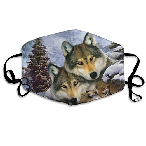 Fashion Earloop Mouth Masks, Dustproof Anti Flu Smog Face and Nose Cover with Adjustable Elastic Strap - Windproof Alaska Wolf Dog Family Half Face Mouth Mask -