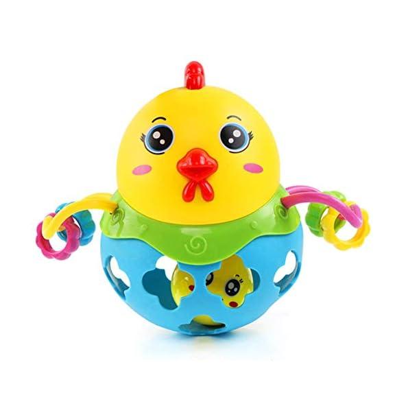 Baby Bucket Stress Relief Toys, Plastic Cartoon Chicken Rattle Handbell Children Chew Teether Educational Toy (Blue)