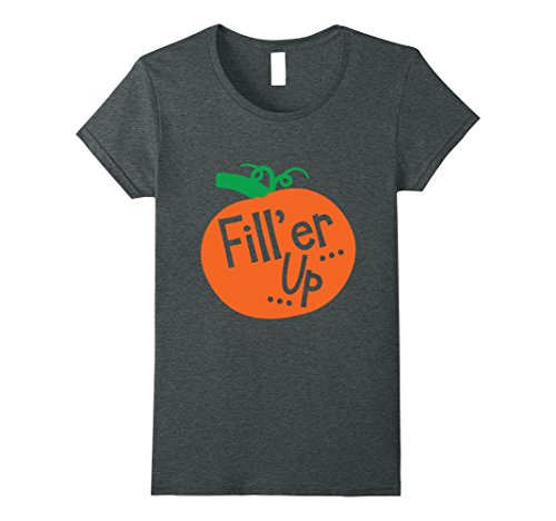 Womens Fill'er Up Funny Pumpkin Halloween T-shirt Medium Dark Heather