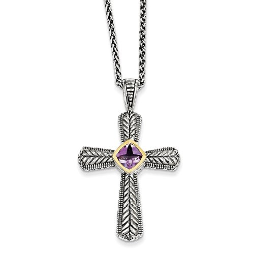 Sterling Silver with 14k .70Amethyst Cross 18in Necklace