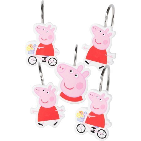 Peppa Pig 'Peppas Pond' Shower Curtain Hooks, Set of - Curtain Pigs Shower