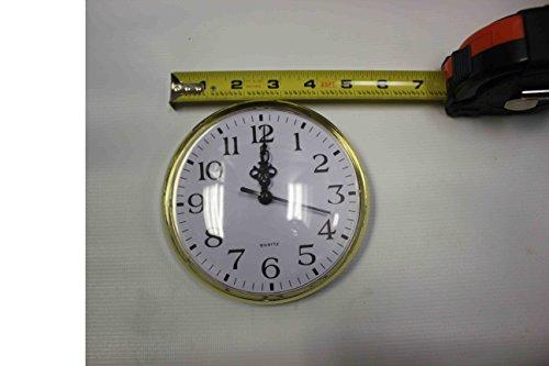 Gold Rim Quartz Clock Insert Arabic Numbers White Face Outside Diameter 131mm/ 5 1/8 in, (Face Arabic Insert)