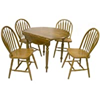 Target Marketing Systems 5 Piece Drop Leaf Dining Set with 4 Spindle Back Chairs and 1 Drop Leaf Table, Oak