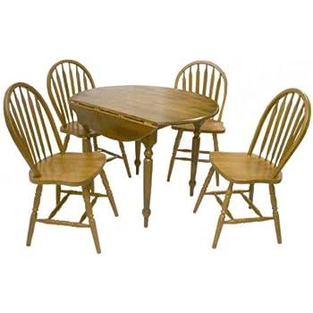 Amazon Com 5pc Country Style Oak Finish Wood Round Dining