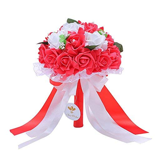 Handmade Wedding Bridal Bouquet Artificial Flowers Rose with Fake Pearl and Ribbon for Bridesmaid Bride (Red Bridal Toss Bouquet)