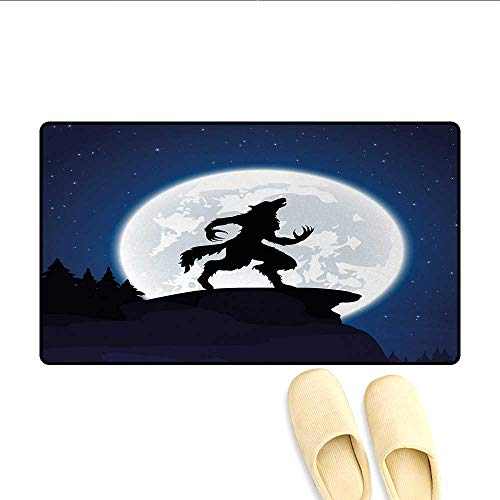 Doormat,Full Moon Night Sky Growling Werewolf Mythical Creature in Woods Halloween,Bath Mat for Tub,Dark Blue Black White,Size:24