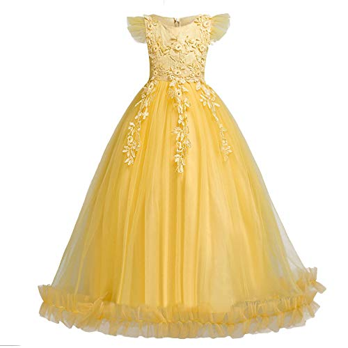HUANQIUE Girls Pageant Party Long Dresses Flower Girl Wedding Dress Yellow 5-6 T