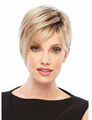 Pelucas Pelo pelucas de pelo corto europeo blanca mujeres Europea sintéticas negras mujer pelucas naturales Corto