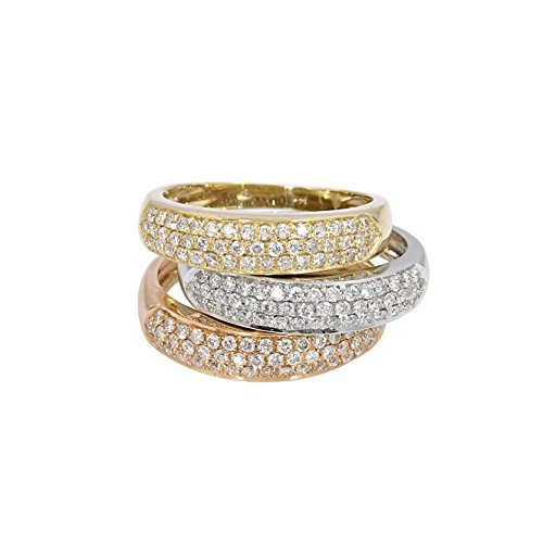 14k gold pave set band with 3 rows of diamonds ()