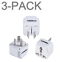 TESSAN Grounded Universal Travel Plug Adapter USA to Australia/China Travel Prong Converter Adapter Plug Kit for Australia/China(Type A) - 3 Pack(WHITE)