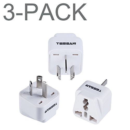Price comparison product image TESSAN Grounded Universal Travel Plug Adapter USA to Australia / China Travel Prong Converter Adapter Plug Kit for Australia / China(Type I) - 3 Pack(WHITE)