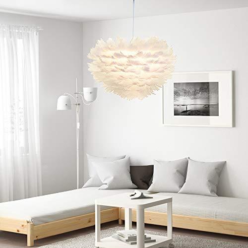 """LED Light Celendi 15.7"""" Modern Pendant Light Feather Shade Chandelier Ceiling Lighting White"""