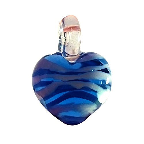 Sansukjai Blue White Heart Love Pendant Necklace Glass Animals Figurines Hand Blown Glass Art Jewelry Blown Glass - Auckland Jim
