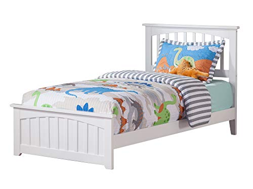 Atlantic Furniture AR8726032 Mission Traditional Bed with Matching Foot Board, Twin, White