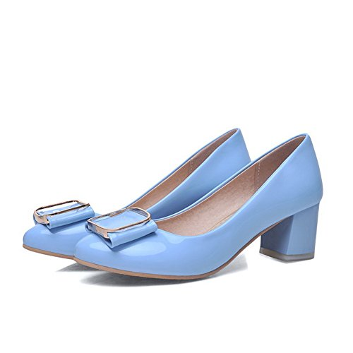 AmoonyFashion Womens Patent Leather Kitten Heels Pointed Closed Toe Solid Pumps-Shoes Skyblue k4waahJzjy