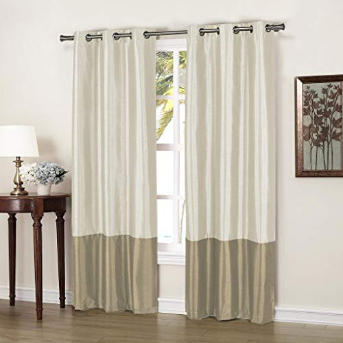 Duck River Textiles - Home Fashion Faux Silk Thermal Blackout Room Darkening Grommet Top Window Curtains Pair Panel Drapes for Bedroom, Living Room - Set of 2 Panels - 37 X 84 Inch - Beige & Mocha