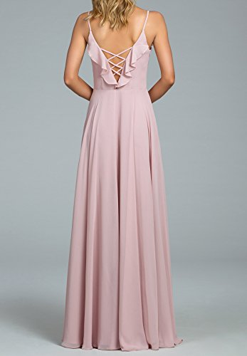 Bridesmaid 2018 Bridal Prom Layered Dresses Blue Neck Line Chiffon Womens A V Beauty AwxHq84v