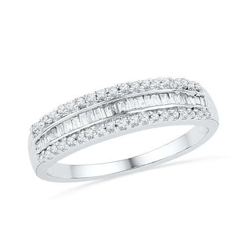 (10KT White Gold Baguette and Round Diamond Anniversary Ring (1/4 cttw) ,size 5.5)