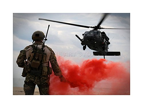 WAR AIR FORCE HELICOPTER LANDING FLARE SMOKE RED FRAME PRINT PICTURE - Smoke Flare