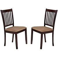 Kings Brand Cappuccino Finish Wood Microfiber Kitchen Dinette Dining Side Chairs, Set of 2