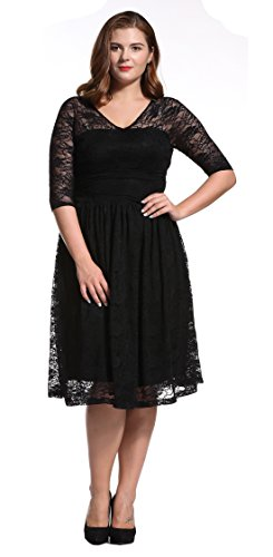 Dilanni-Women-Double-V-Neck-Ruched-Waisted-Wedding-Party-Lace-DressBlack-4X