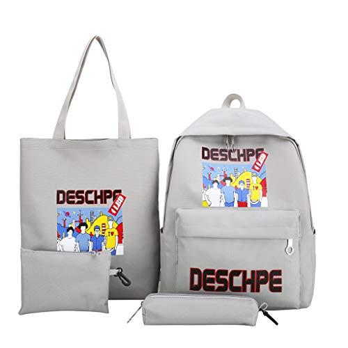4Pcs School Backpack Set,SIN+MON Canvas Cartoon Daypack Travel Knapsack Shoulder Bag Pencil Case Cosmetic Bag for Teen Girls