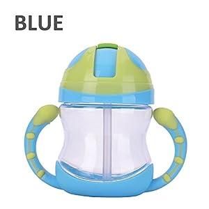 MONOMONO-Kids Handle Infant Bottle Drinking Tool Baby Straw Cup (blue)