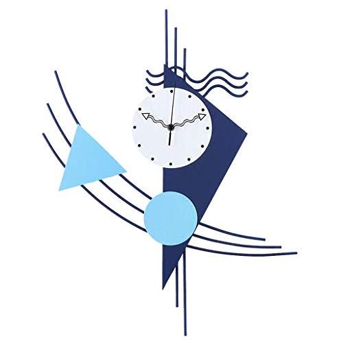 ZHAS Indoor Decorative Wall Clock Creative Wall Clock Metal Wrought Iron Wall Clock - Wall Clock for Children - Mediterranean Style - Mute - Living Room Bedroom Dining Room - Boy Girl Children's