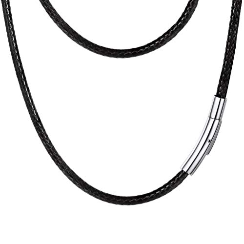 PROSTEEL Black Leather Cord Braid Rope Necklace Minimalist Chain Choker Stainless Steel Men Women Jewelry Gift Bohemian DIY Customize Cord