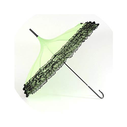 (Princess Lace Umbrella 16 Ribs Ruffle Parasol Women Long-handle Windproof Sun Rain Umbrellas UV,Green)
