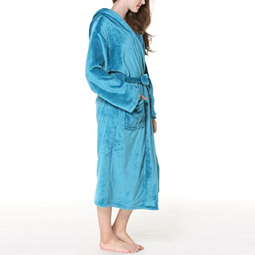Zhuhaitf Albornoz Hooded Size Thick Winter Peacock Comfy Fashion Warmth Blue Flannel Plus Men Women Unisex Nightgown Pijama wUvrwq