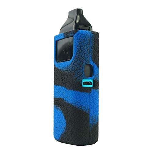 Wonders Texture Case for Aspire Breeze 2, Anti-Slip Silicone Skin Cover Sleeve Wrap Gel Fits for Aspire Breeze2 (Black-Blue)