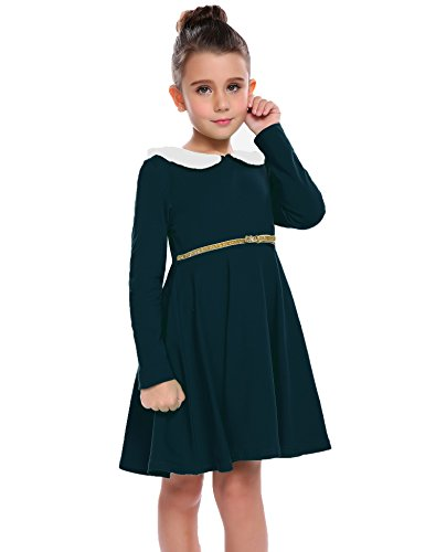 Arshiner Girls Long Sleeve Doll Collar Dress Solid Color A Line Peter Pan Collar Cotton Dress