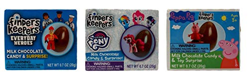 Finders Keepers Milk Chocolate Candy Toy Surprise 3 Egg Collector Gift Bundle: Everyday Heroes, My Little Pony, Peppa Pig (.7 Ounces)