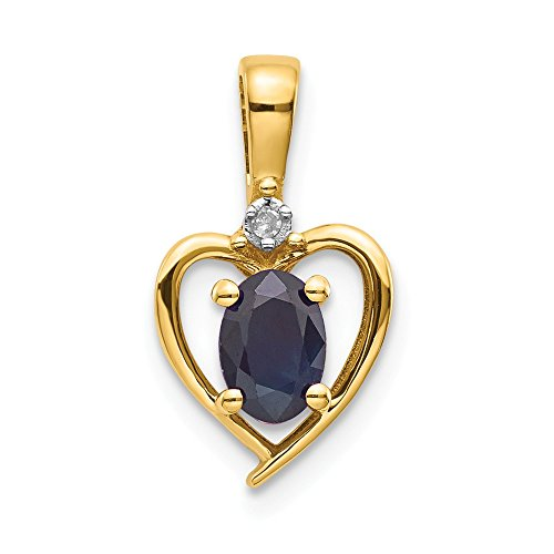 (14k Yellow Gold Diamond Sapphire Pendant Charm Necklace Gemstone Set Birthstone September Fine Jewelry Gifts For Women For Her )